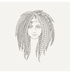 Young girl with patterned zentangle dreadlocks vector