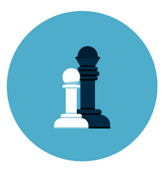 black and white chess figures icon on blue round vector image
