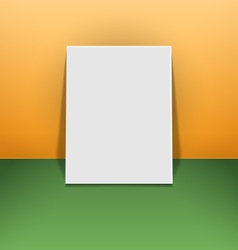 Blank photo frame canvas on green and orange vector