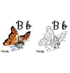 Butterfly alphabet letter b coloring page vector