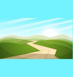 Cartoon landscape sun road cloud vector