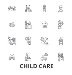 Child care babysitter preschool nanny nursery vector