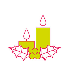 Christmas candles holly berries season holiday vector