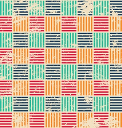 Colored woven seamless pattern with grunge effect vector