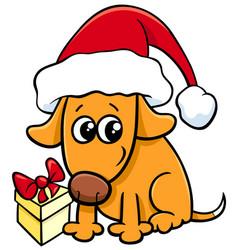 cute dog on christmas cartoon vector image