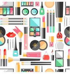 Flat cosmetics seamless pattern beauty fashion vector