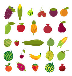flat design fruits icon set vector image vector image