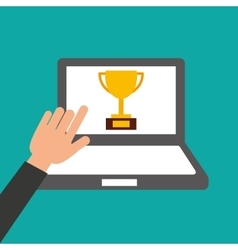 Hands holds laptop-trophy online education vector