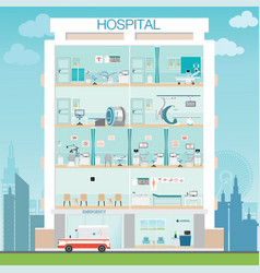 hospital building exterior with doctor and vector image vector image