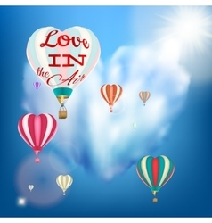 Hot air balloon in a heart shape eps 10 vector