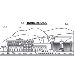 India kerala architecture line skyline vector