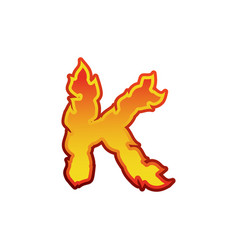 Letter k fire flames font lettering tattoo vector