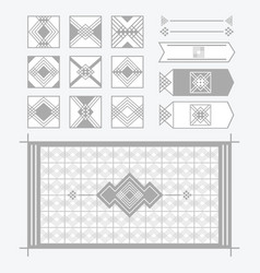 Light gray geometrical tiles patterns set vector