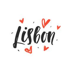 Lisbon modern city hand written brush lettering vector