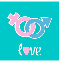 Male and female signs love card flat design style vector