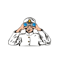 Navy captain sailor with binoculars vector