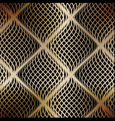 seamless golden grid of wavy lines on a black vector image