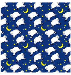 seamless sleeping lambs pattern vector image
