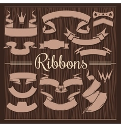 Set of vintage retro ribbons and design elements vector image