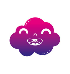 Silhouette happy and cute cloud kawaii weather vector