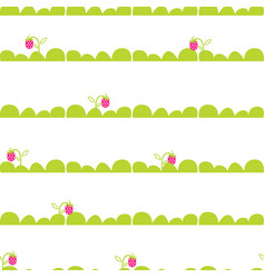 Strawberry garden bed seamless pattern vector