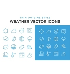 Weather icons outline set vector