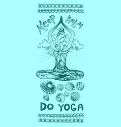 yoga meditation pose graphic hand drawn vector image vector image