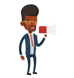 Young business man speaking into megaphone vector
