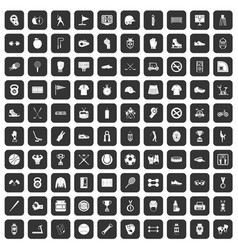 100 sport equipment icons set black vector