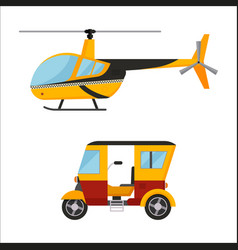 Yellow taxi helicopter bus air vector