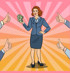 Pop art business woman with stack of money vector