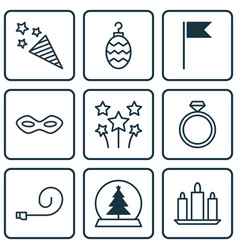 Set of 9 celebration icons includes firecracker vector