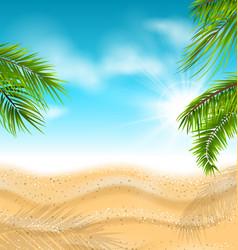 Tropical beach with sand sea palm leaves sun vector