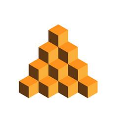 Pyramid of gold cubes 3d vector