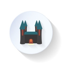 Halloween castle ghosts flat icon vector