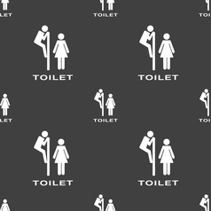 Toilet icon sign seamless pattern on a gray vector
