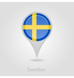 Sweden flag pin map icon vector