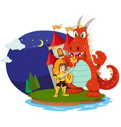 Knight and dragon on the island vector