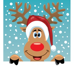 Rudolph deer holding blank paper vector