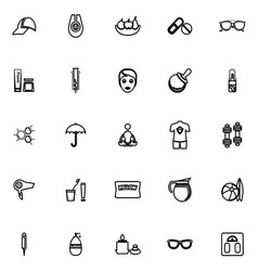 Facial and body treatment line icons on white vector