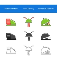 Restaurant food delivery service icons vector