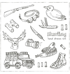 Hand drawn doodle hunting set vector