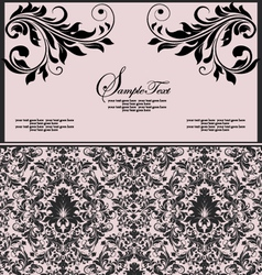 Pink and black invitation floral card vector