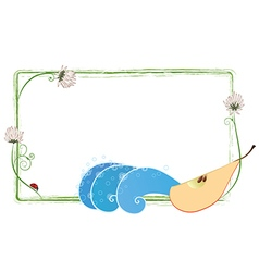 Frame with clover flowers pear and ladybird vector