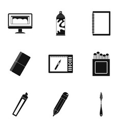 Art instruments icons set simple style vector