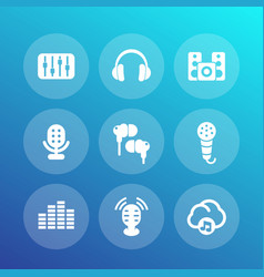 audio icons set sound mixing console earbuds vector image vector image