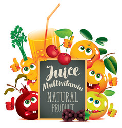 banner for multivitamin juice with funny fruits vector image vector image
