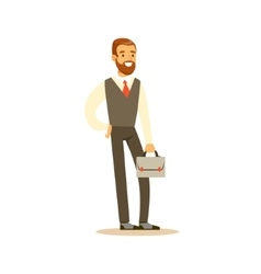 Beardy Businessman With Suitcase Business Office vector image vector image