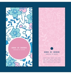 Blue and pink kimono blossoms vertical vector
