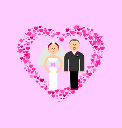 Bride and groom with hearts vector